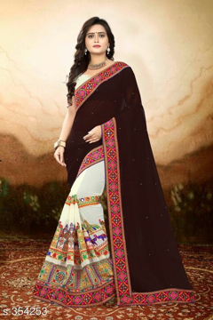 Brown Printed Georgette Saree Vol1