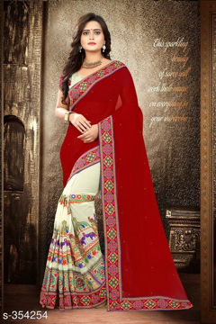 Mehroon Printed Georgette Saree Vol1