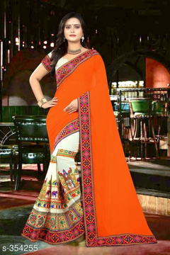 Orange Printed Georgette Saree Vol1