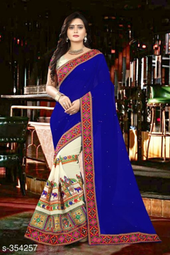 Blue Printed Georgette Saree Vol1