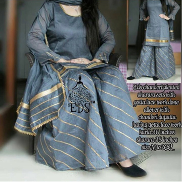 Fancy Top Plazo Dupatta Gray