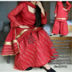 Chanderi Silk Stitched Sharara Suit Red