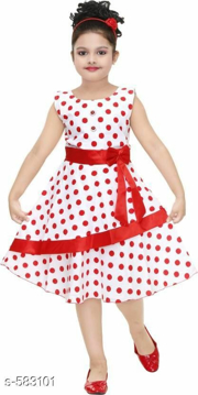 Red Dot Printed Sleeveless Dress Cotton Frock for Girls