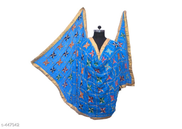 Phulkari Embroidered Chiffon Dupatta Blue