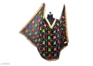 Phulkari Embroidered Chiffon Dupatta Black