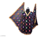 Phulkari Embroidered Chiffon Dupatta Dark Blue