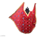Phulkari Embroidered Chiffon Dupatta Red