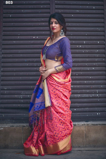 Banarasi Weaving Patola Saree  in Pink Color