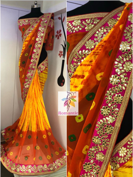 Georgette Printed Saree with Gota Pati Border