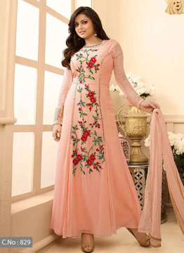 Women's Suit Georgette Top Bottom Santoon Dupatta Nazmeen Inner santoon Embroidery