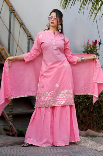 Women's Rayon Kurti with Sharara and Dupatta In Pink Color