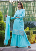 Women's Rayon Straight Kurti with Sharara and Dupatta In Blue Color
