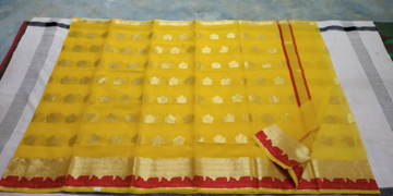 Buy Real Kota Doria Saree in Yellow Color  Online at Best Prices in Udaipur