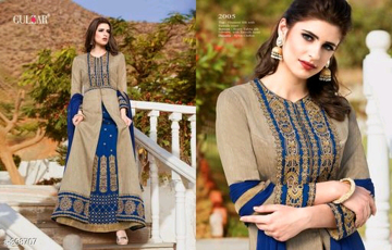 Buy Tan Color Designer Party Wear Gowns Full Sleeves Semi Stitched