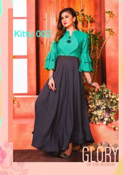 Party Wear Rayon Ladies Designer Dress  For Women  in Green Color