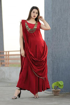 Buy Designer Party Wear Rayon Indo Western Dress in Red Color