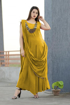 Buy Designer Party Wear Rayon Indo Western Dress in Yellow Color