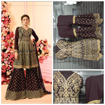 Party Wear Georgette Palazzo Suit With Embroidery Work in Brown Color