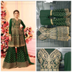 Party Wear Georgette Palazzo Suit With Embroidery Work in Green Color