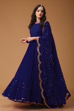 Buy Women's Georgette Semi-Stitched Gown With Foil Mirror Work in  Navy Blue Color on UdaipurBazar.com