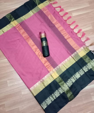 Buy  Pure Soft Dobby Jacquard Cotton Silk Finish Saree With Jhalar in Pink Color Online at Best Prices on UdaipurBazar.com