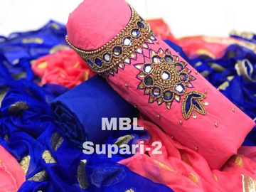 Buy Dress Material MBL Modal Chanderi Cotton With Khatali Hand Work With Santon Inner Online at Best Prices on UdaipurBazar.com