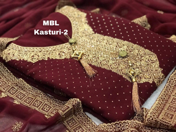 Buy  Maroon Color MBL Kasturi Top Fox Georgette Full Soft Fabric Unstitched Suit Online at Best Prices on UdaipurBazar.com