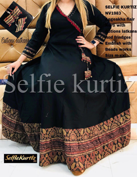Buy  Selfie Kurtis Angeakha Flair Kurti with Cutions Latkans and Frindges Emblish with Beads Works Online at Best Prices on UdaipurBazar.com