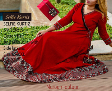 Buy Selfie Kurtis Cotton Flair Angrakha Kurti with Side Latkans Online at Best Prices on UdaipurBazar.com