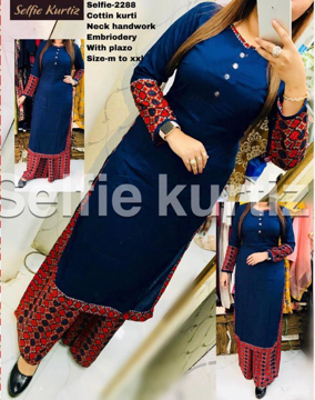Buy Selfie Kurtis Cotton Kurti Neck Handwork Embroidered with Plazo Online at Best Prices on UdaipurBazar.com