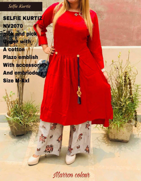 Buy Selfie Kurtis Pick and Pick Upper with A Cotton Plazo Embellish with Accessory and Embroidery Online at Best Prices on UdaipurBazar.com