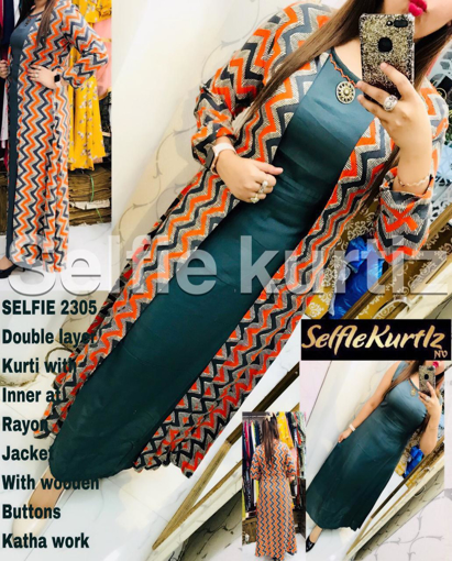 Selfie Kurtiz - Double Layer Kurti with Inner and Rayon Jacket with Wooden Buttons
