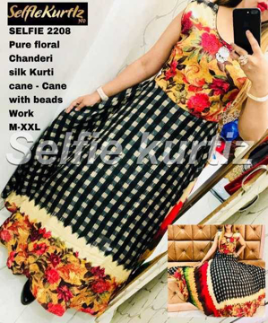 Buy Pure Floral Chanderi Silk Selfie Kurtis with Beads Work Online at Best Prices on UdaipurBazar.com