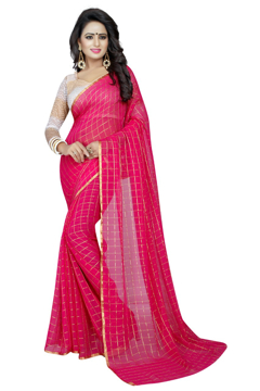 Buy Plain Chiffon Sarees With Light Border Online at Best Prices on UdaipurBazar.com