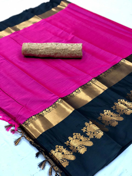 Buy Purple Cotton Silk Sarees with Running Blouse Online at Best Prices on UdaipurBazar.com