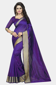 Buy Violet Cotton Silk Sarees with Wide Border Online at Best Prices on UdaipurBazar.com