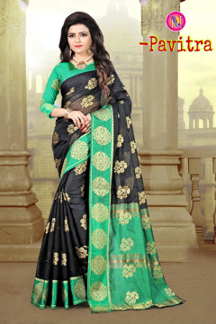 Buy Manipuri Silk Weaving Butta in Green Saree with Contrast Colour Zari Pallu Online at Best Prices on UdaipurBazar.com