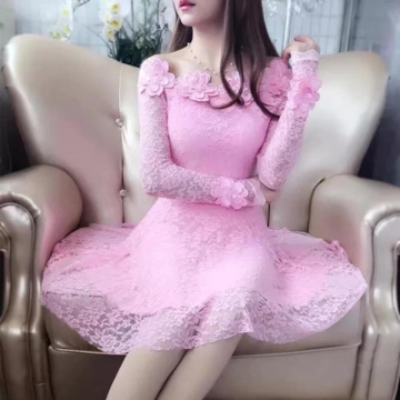 Pink Off Shoulder Lace Midi Dress