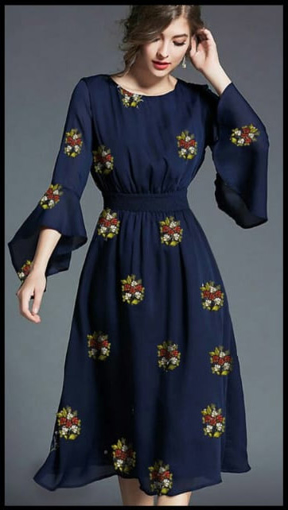 Buy Fancy sleeves embroidery work designer kurti/frocks in Blue Color on UdaipurBazar.com