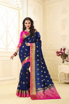 Buy Designer Navy Blue Kanjivaram Jacquard Silk Saree at Best Prices in Udaipur on UdaipurBazar.com.