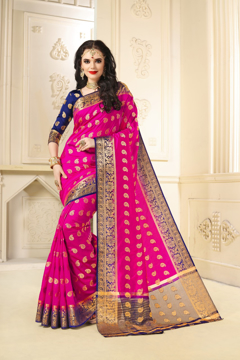 Buy Designer Magenta Kanjivaram Jacquard Silk Saree at Best Prices in Udaipur