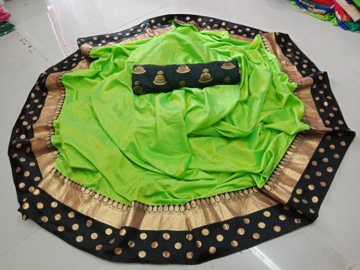 Green Sana Silk Saree with Heavy Jacquard Patta and Jacquard Blouse Piece at Best Prices in Udaipur
