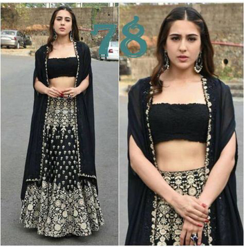 Women's Taffeta Silk Heavy Embroidered Lehenga Choli (Black)