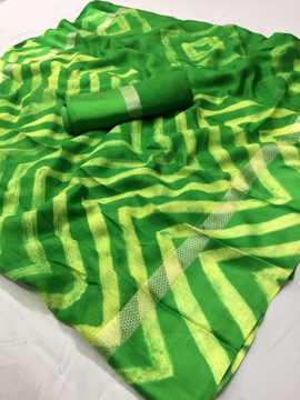 Green Leheriya Kota Silk Saree