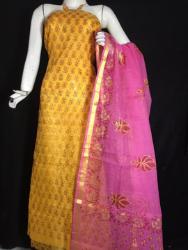 Picture of Kota Doria Printed Dress Material (Without Bottom)