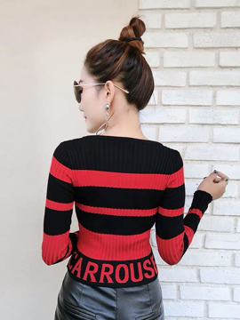 Striped knitted O-neck full sleeves winter top (yellow, white, red)