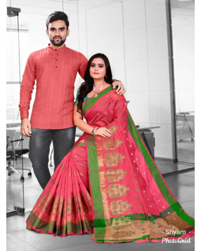 Couple combo set for party with saree for women(pink) and matching kurta for men(pink or pista)