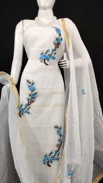 Kota Doria Embroidery Suits Dress Material Off White
