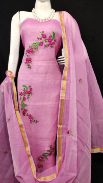 Kota Doria Embroidery Suits Dress Material Purple Color