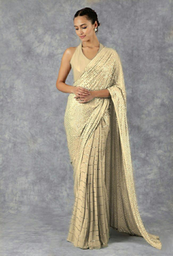 Pure Georgette Saree With Mukaish Work